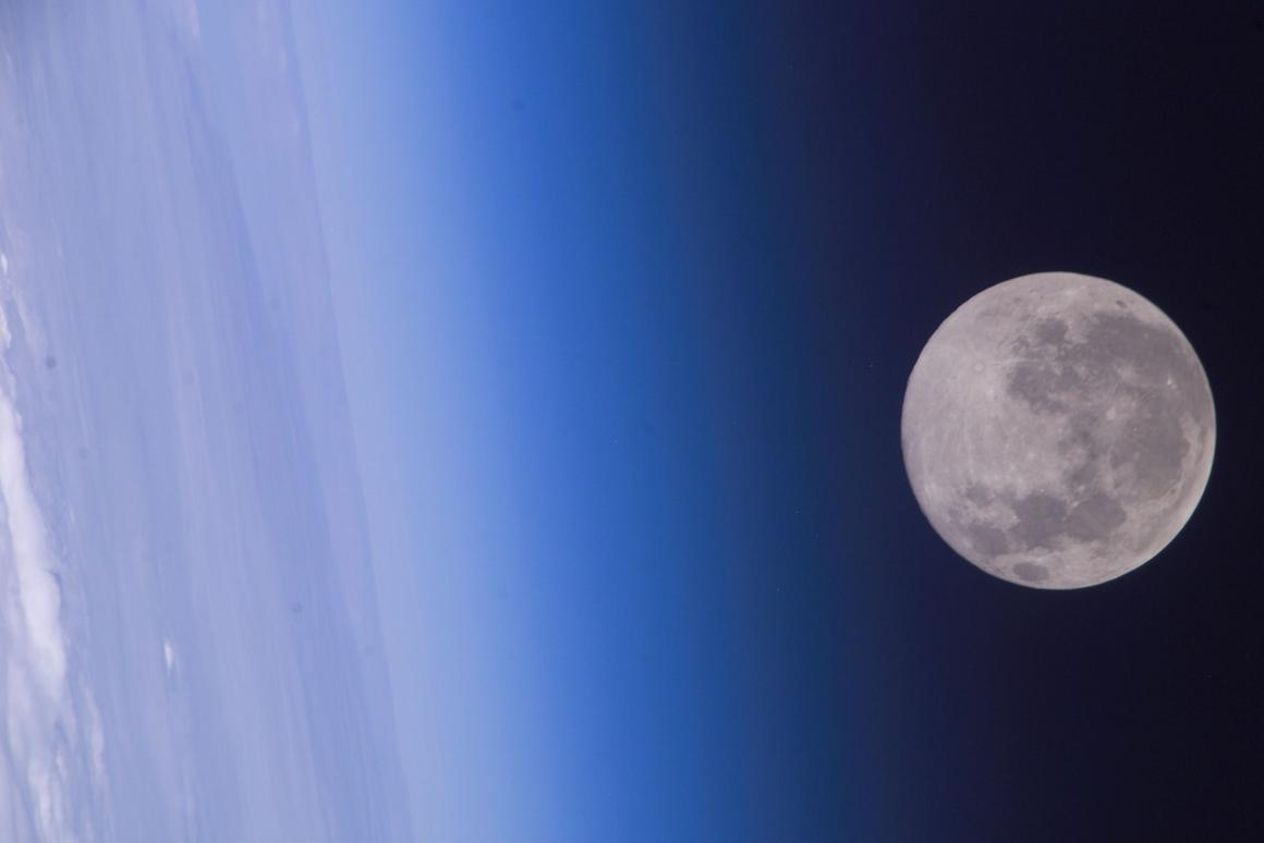 Earth and the Moon as shot by Expedition 10 crewmembers aboard the International Space Station in 2017