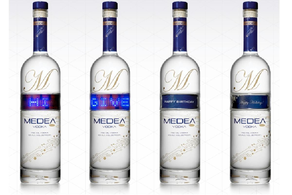 "Medea vodka bottles have an LED ticker on them to help ""get your message across"""