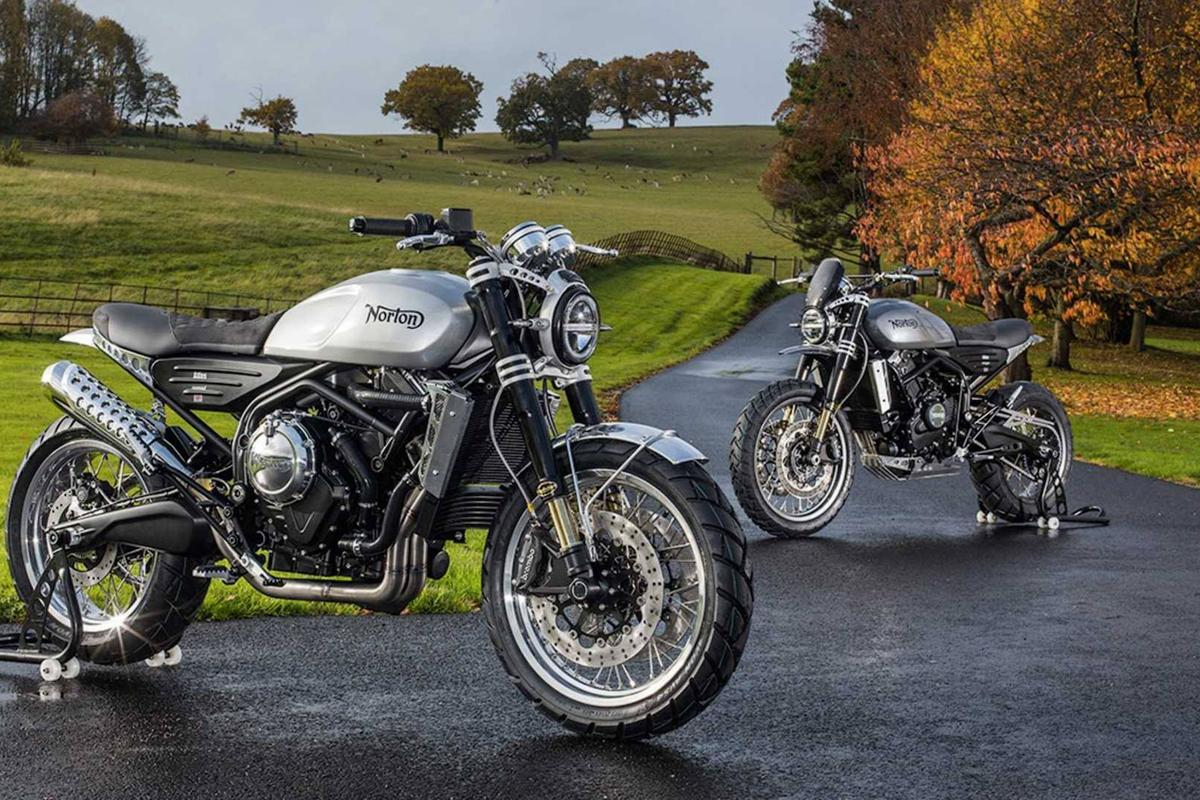 Norton's new 650cc Atlas bikes, the Nomad in front and the Ranger behind