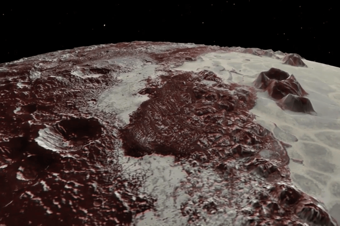 NASA just released a stunning flyover video of Pluto compiled from data gathered by the New Horizons probe in 2015
