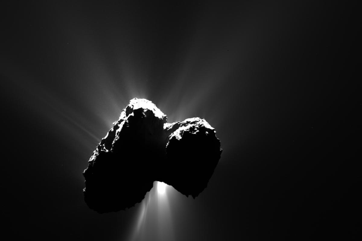 Image of Comet 67P/Churyumov-Gerasimenko, the resting place of the Rosetta spacecraft and Philae lander, as seen in 2015 from a distance of 317 km (197 miles)