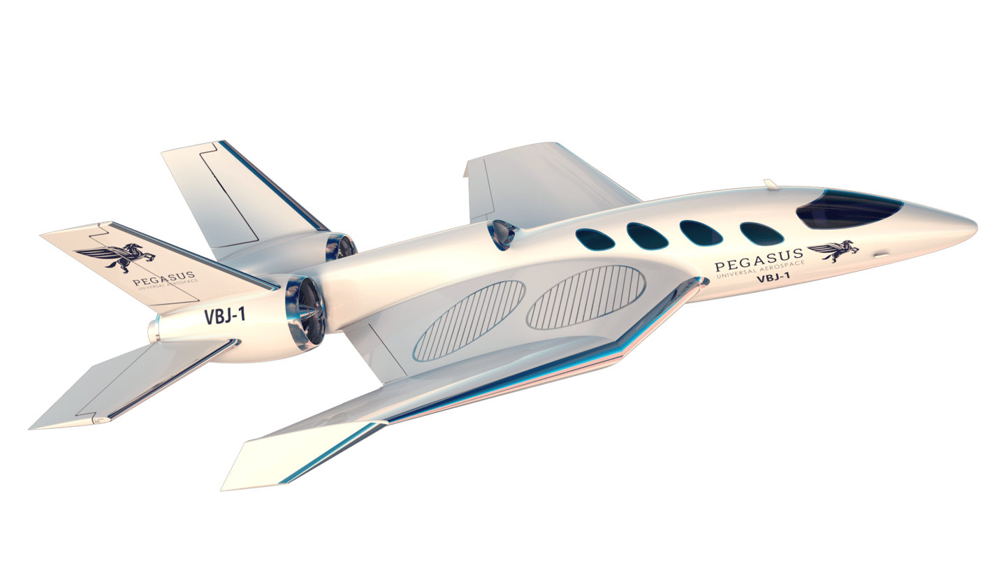 Four vertical lift fans embedded in the wings enable drone-like liftoff and landing