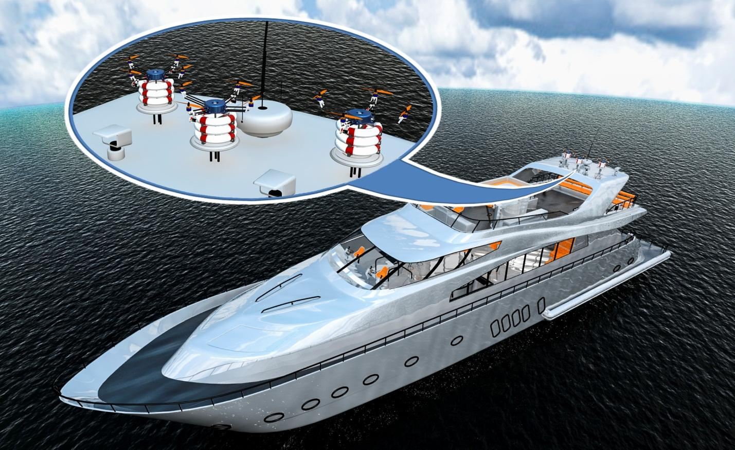 The designers claim the charging platform could be attached to the top of a rescue boat or offshore structure