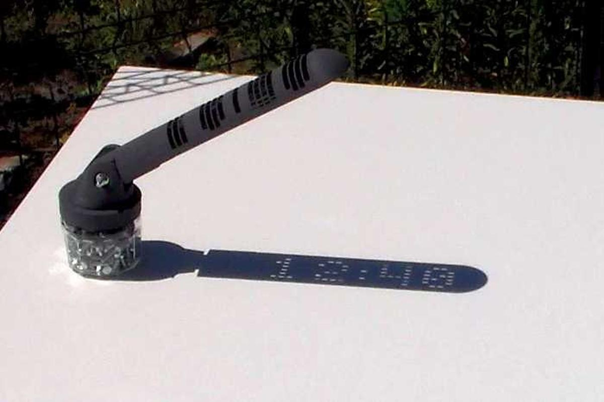 The digital sundial displays the current time within its own shadow
