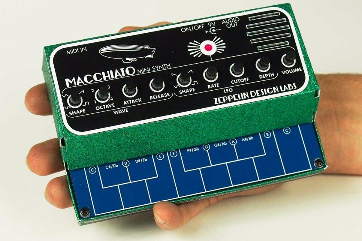 The palm-sized Macchiato Mini Synth from Zeppelin Design Labs