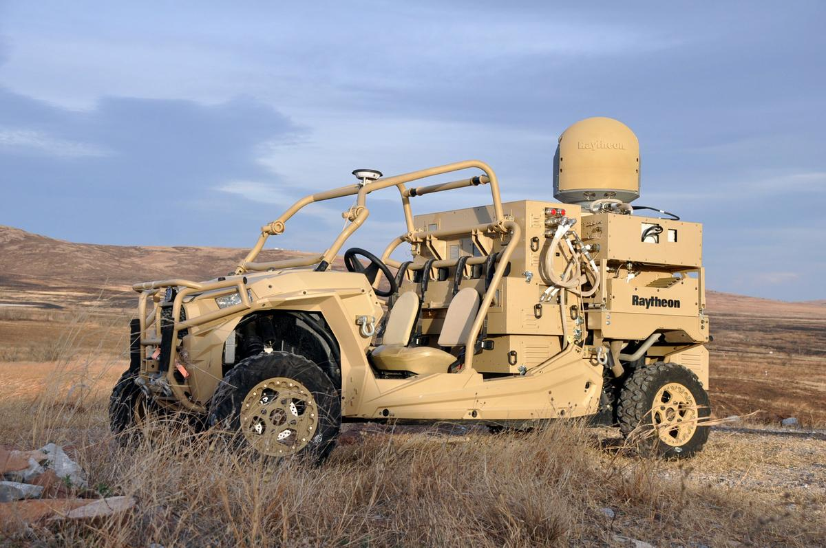 The vehicle-mounted laser combines a solid state laser with an advanced variant of the company's Multi-Spectral Targeting System,installedon a small, all-terrain Polaris militarized vehicle