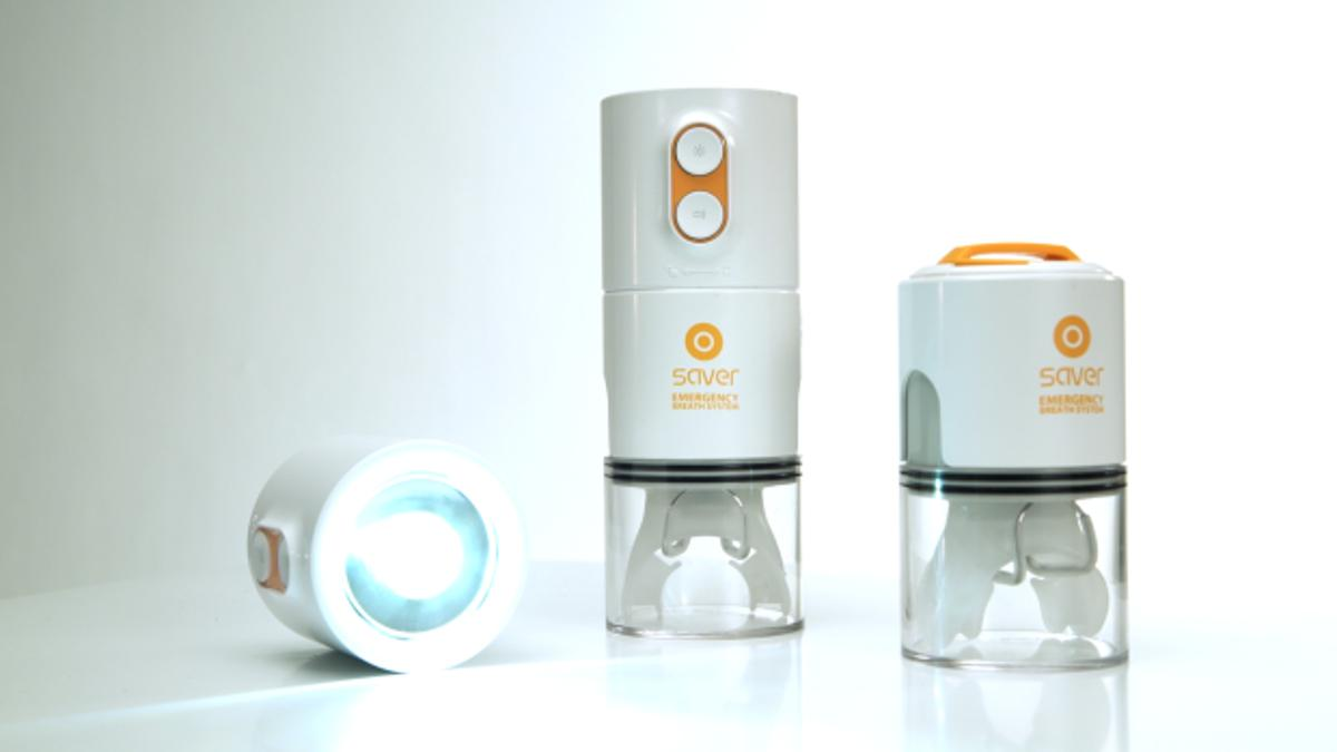 The Saver is a personal smoke filter, flashlight and alarm