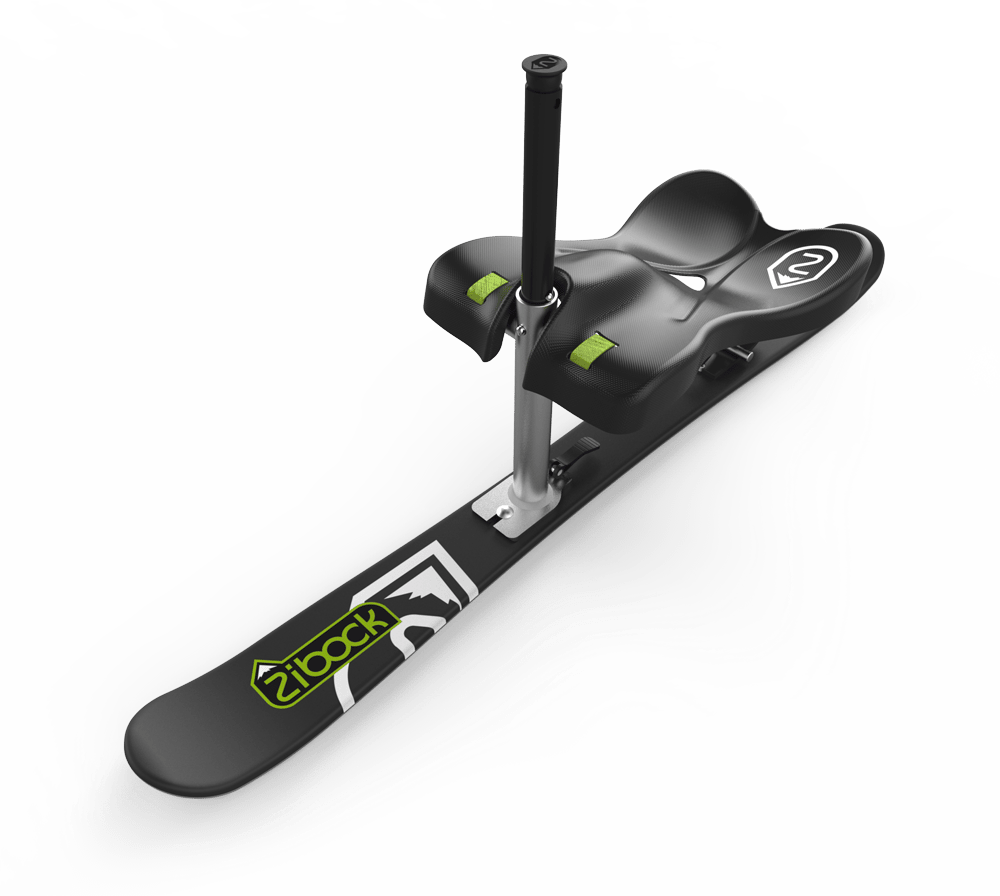 The Zibock features a carbon-fiber finished seat, telescoping grab handle and spring suspension