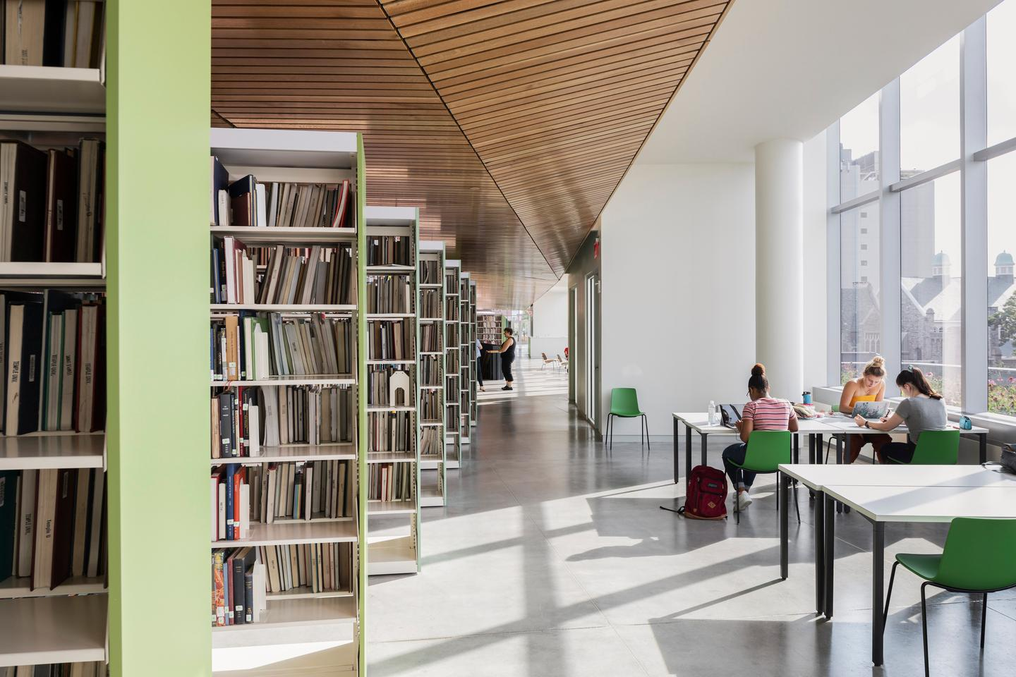 The Charles Library at Temple University includes multiple meeting and study areas