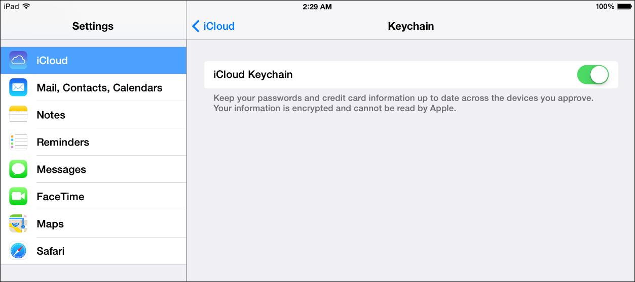 iCloud Keychain is easy to toggle on or off in Settings