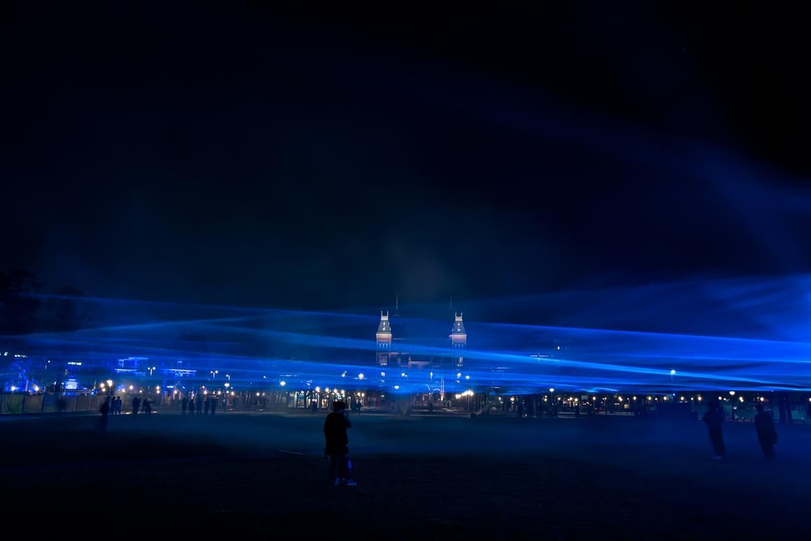 Studio Roosegaarde's Waterlicht installation has been on display in Amsterdam's Museumplein square