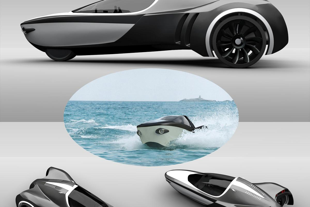 The Manta three-wheeler amphibious concept vehicle has an electric motor on each of the rear wheels, which can be rotated 90 degrees to provide propulsion in water