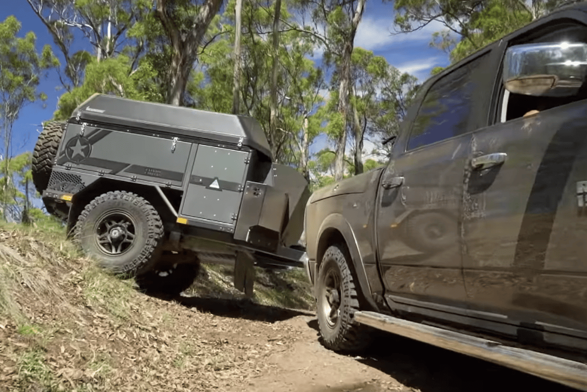 Patriot X1-H camper trailer expands into an off-grid shelter