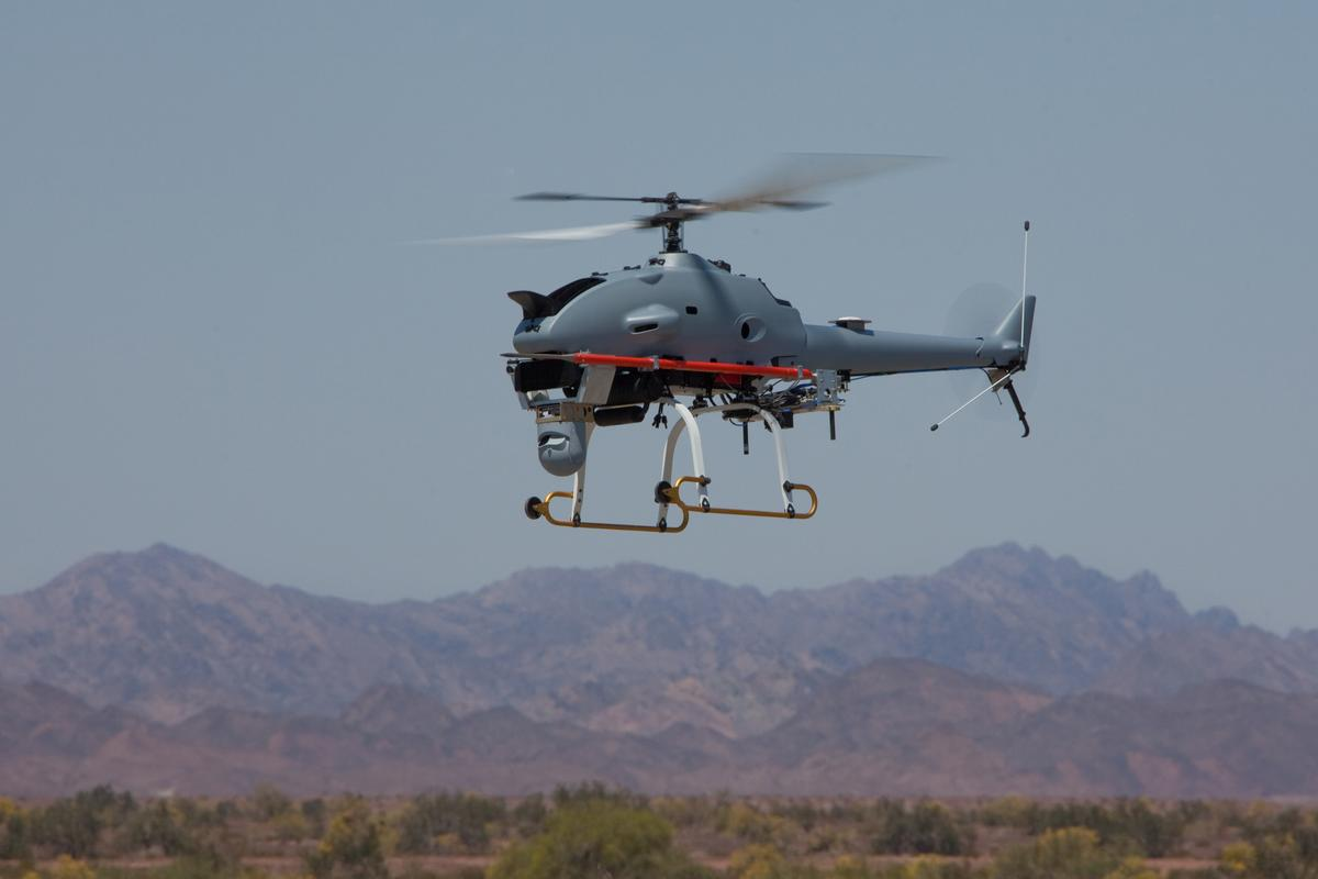 The Rotary-Bat (R-Bat) unmanned helicopter system conducts a flight test from Yuma Proving Grounds, Arizona (Photo: Northrop Grumman)
