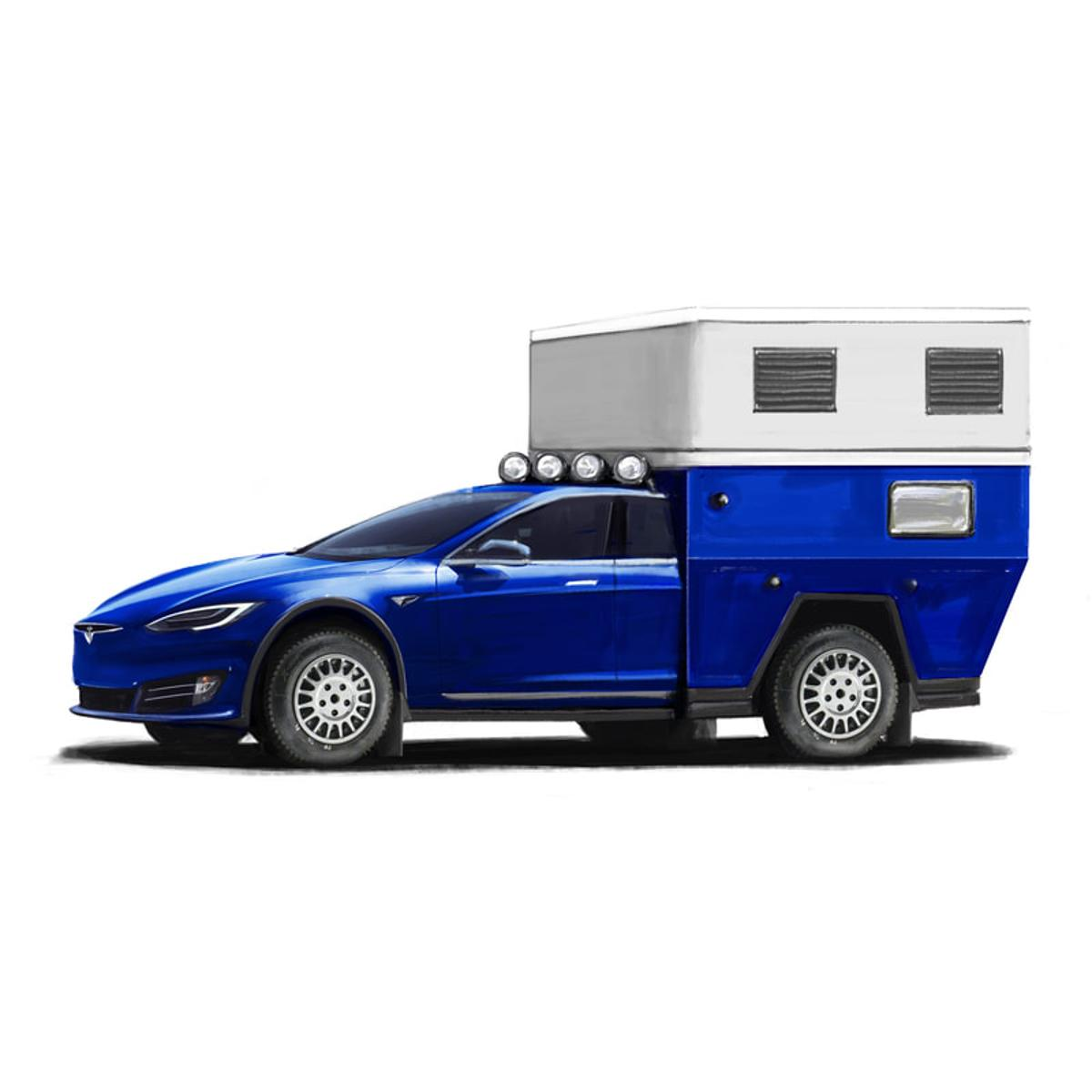 Camping in breezy, ventilated comfort on a Tesla Model S