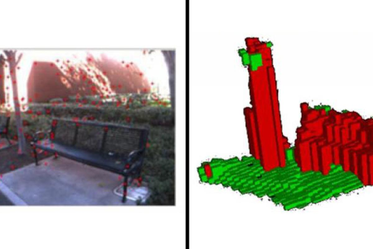 Simultaneous Localization and Mapping (SLAM) software analyzes data from stereo camera views (left) to create 3-D renderings of the scene (right), and then map a path through it (Image: USC Viterbi School of Engineering)