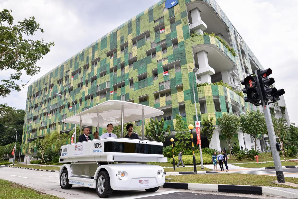 Singapore's Nanyang Technological University will be running a Navia autonomous shuttle to the nearby JTC Corporation's CleanTech Park (Photo: NTU)