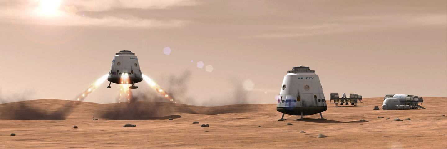 Artist's concept of SpaceX Mars landing (Image: SpaceX)