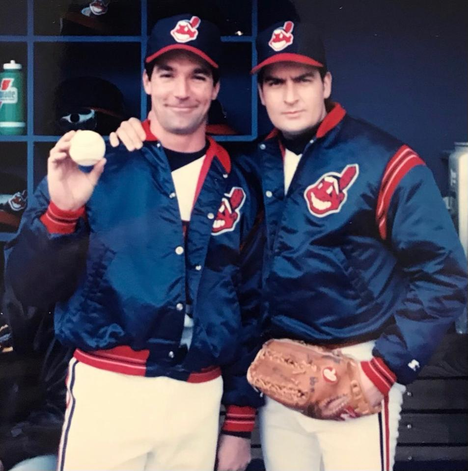 Eddie has been a long-time stuntman and body double for Charlie Sheen. Here the pair are on set for Major League