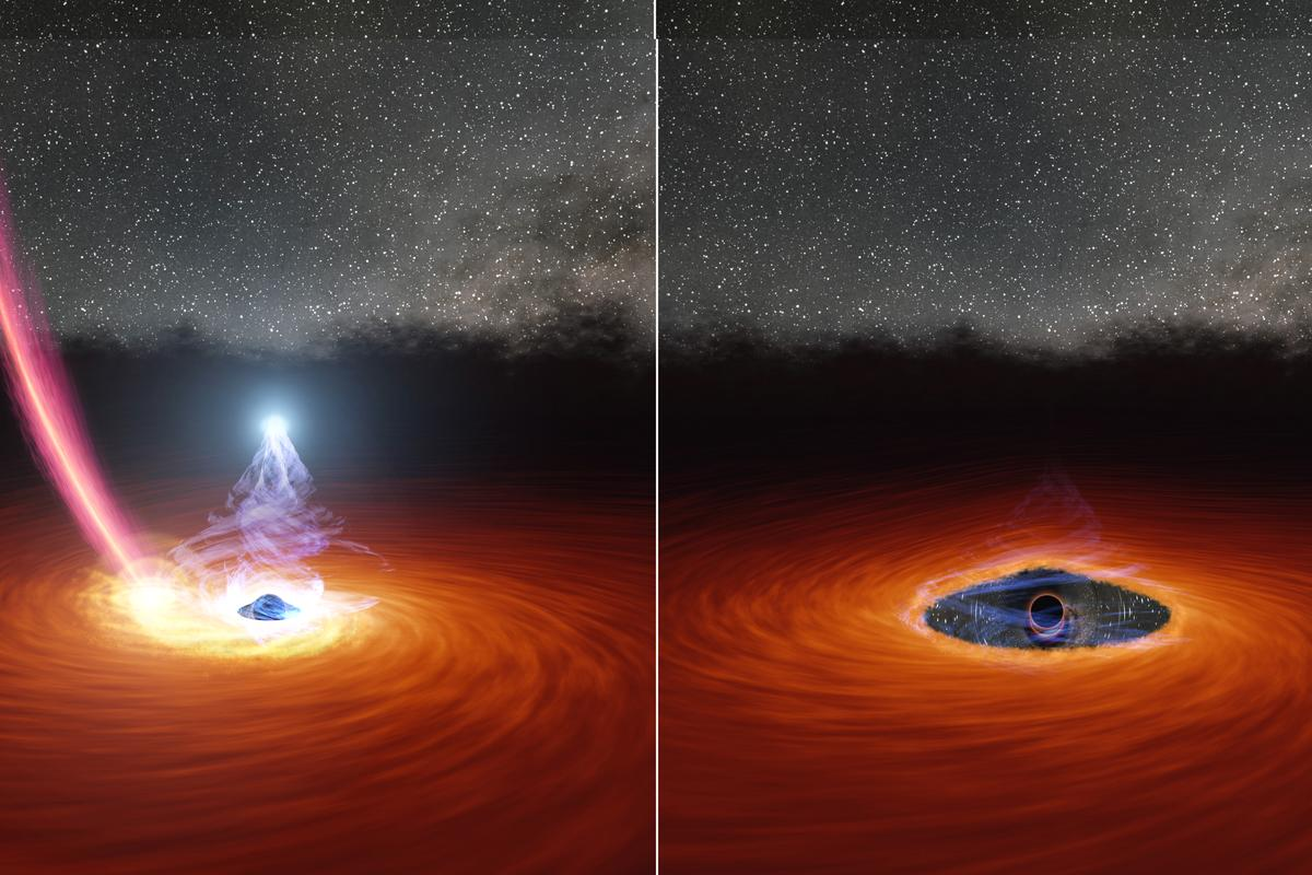 Left: a regular corona, shining bright around a black hole. Right: A faded corona, such as the one seen for the first time in the new study