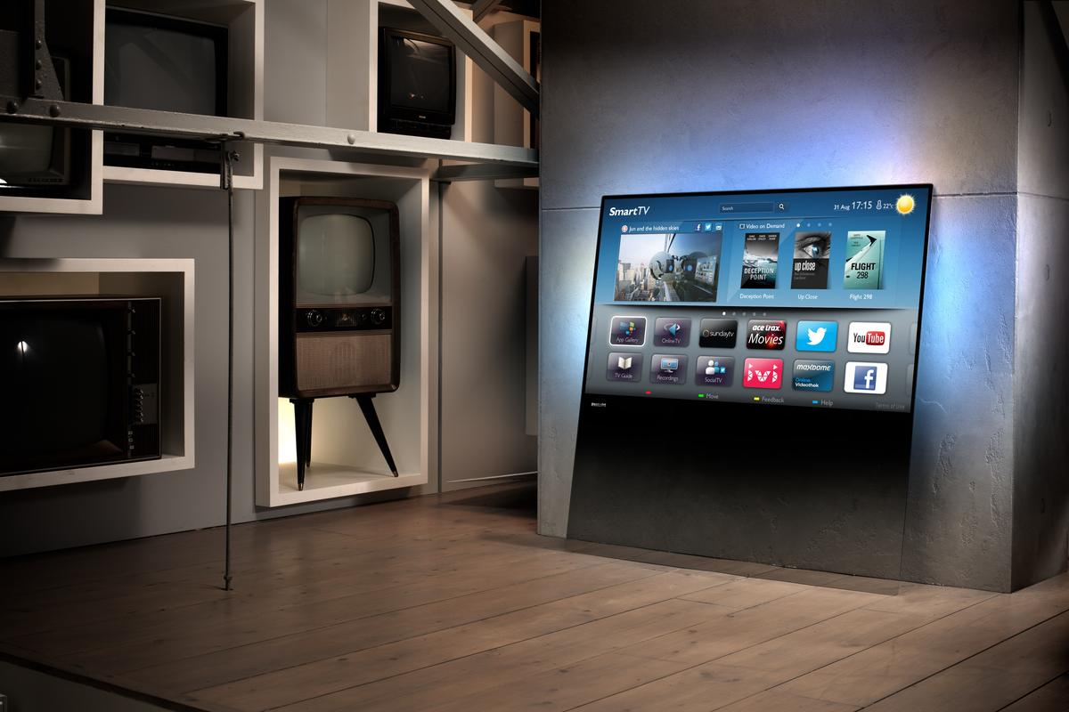 The 2013 Philips DesignLine TV is designed to lean against a wall