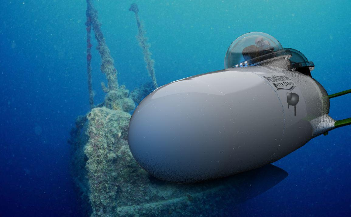 Computer image of the SeaBird personal submarine that is designed to be towed by a surface vessel (tow cable not pictured)