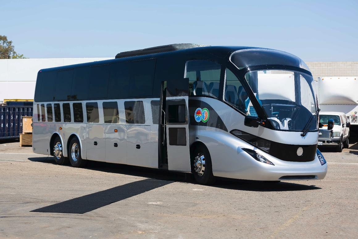 Gaffoglio Family Metalcrafters revealed its electric bus prototype at a private event in April