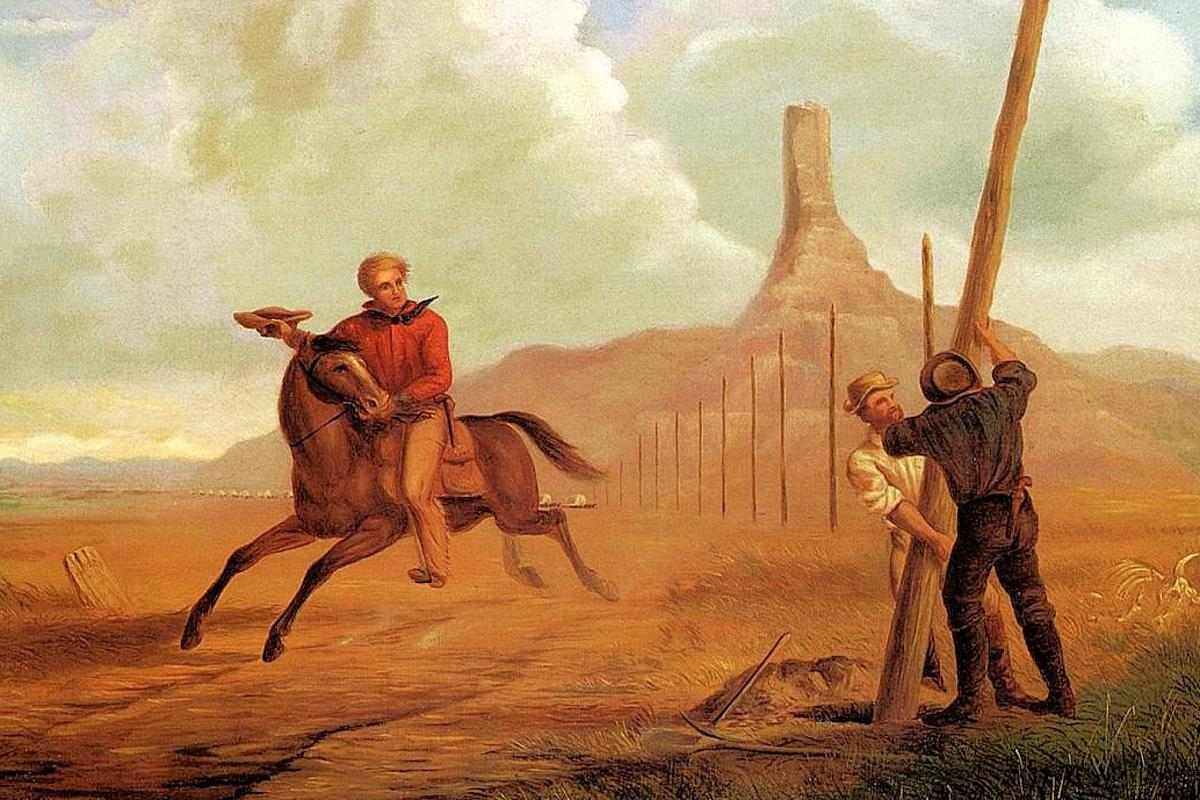 The Last Ride of the Pony Express - painted by George M. Ottinger in 1873 - showing a Pony Express rider passing the work crews installing the Transcontinental Telegraph (Photo: The Athenaeum)
