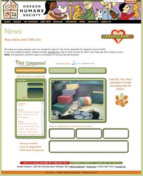 The iPet Companion interface on the Oregon Humane Society's website
