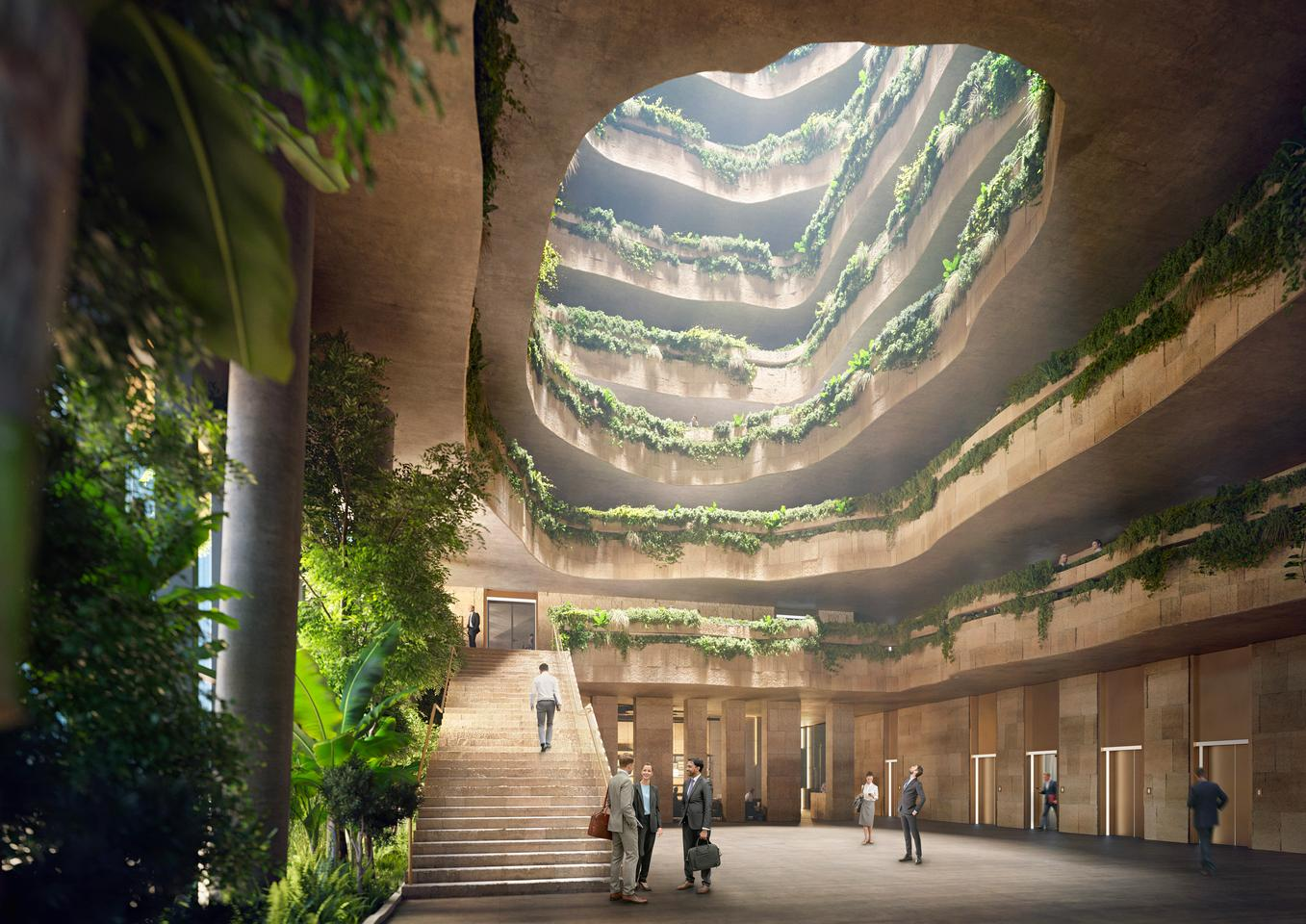 The Sanko Headquarters' interior will be mostly given over to office space and arranged around a large central atrium
