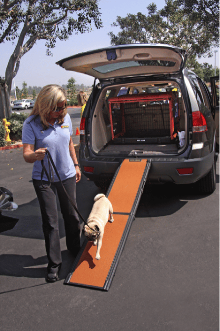The Jeep Liberty comes with a ramp with is great for arthritic or large dogs