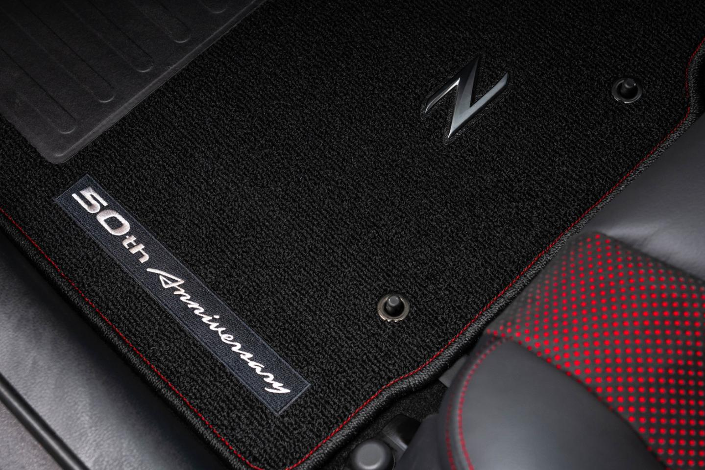50th Anniversary stitching and details adorn the interior of the 2020 Nissan 370Z 50th Anniversary Edition