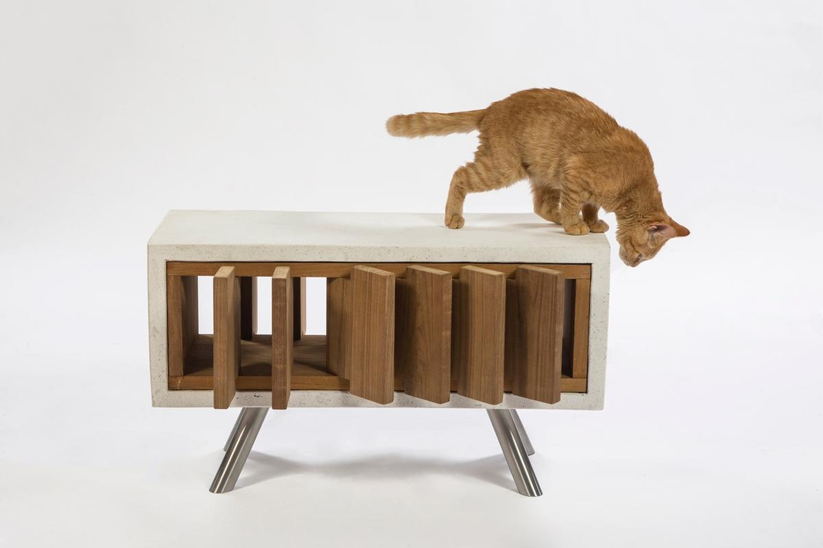 The California Cat Cube, by Standard Architecture, features reclaimed wooden louvers