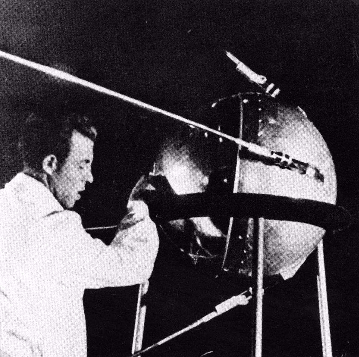 One of the first images released of the actual Sputnik 1 satellite