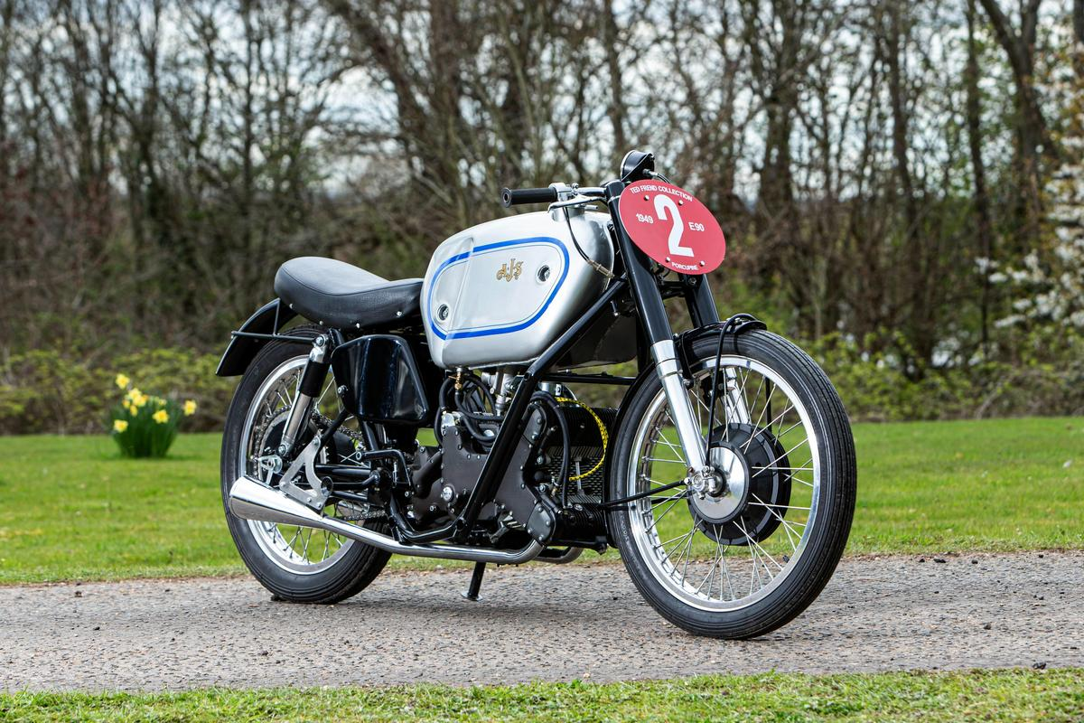 The AJS 500 E90 Porcupine won both the 1949 riders and manufacturers World 500cc Motorcycle Road Racing Championship. In total, it won four Grands Prix between 1949 and 1951
