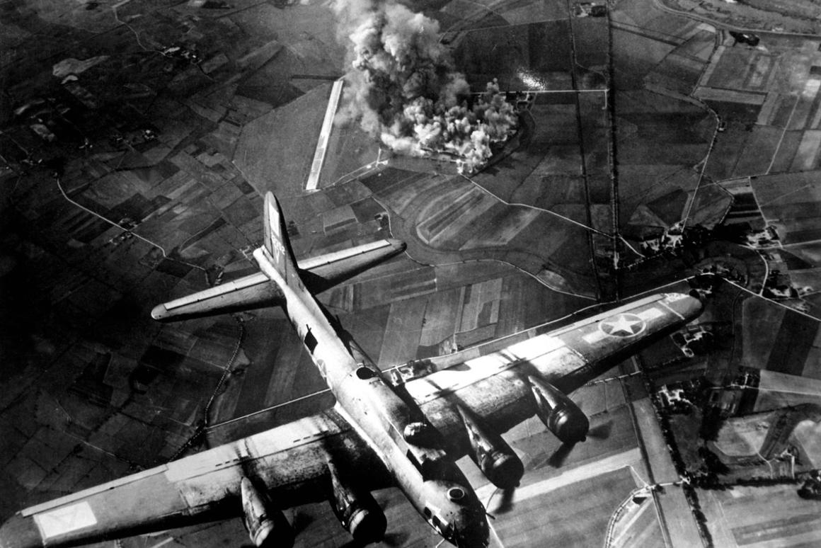 US Army bomber attacking factory at Marienburg, Germany, on 9 October 1943