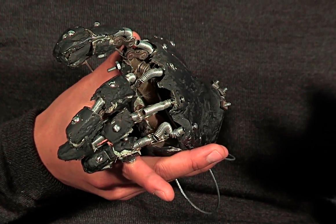The prototype hand and wrist of the heat-sensing prosthetic arm