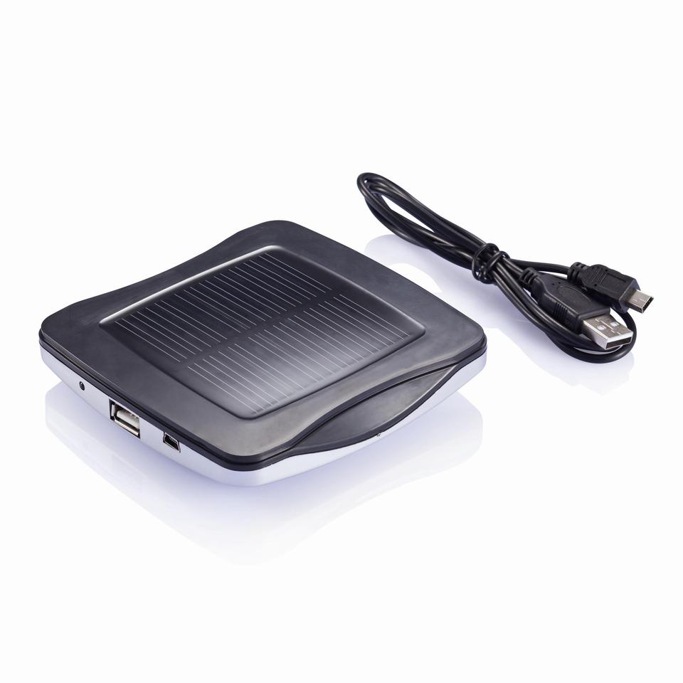 The Window solar charger has an ABS plastic case with a PV panel surrounded by silicone pads capable of temporarily sticking to the glass of a window