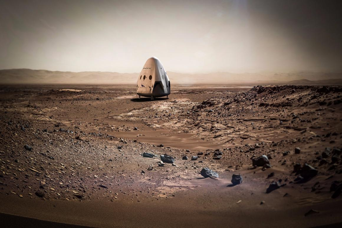 Artist's concept of a SpaceX Dragon on Mars