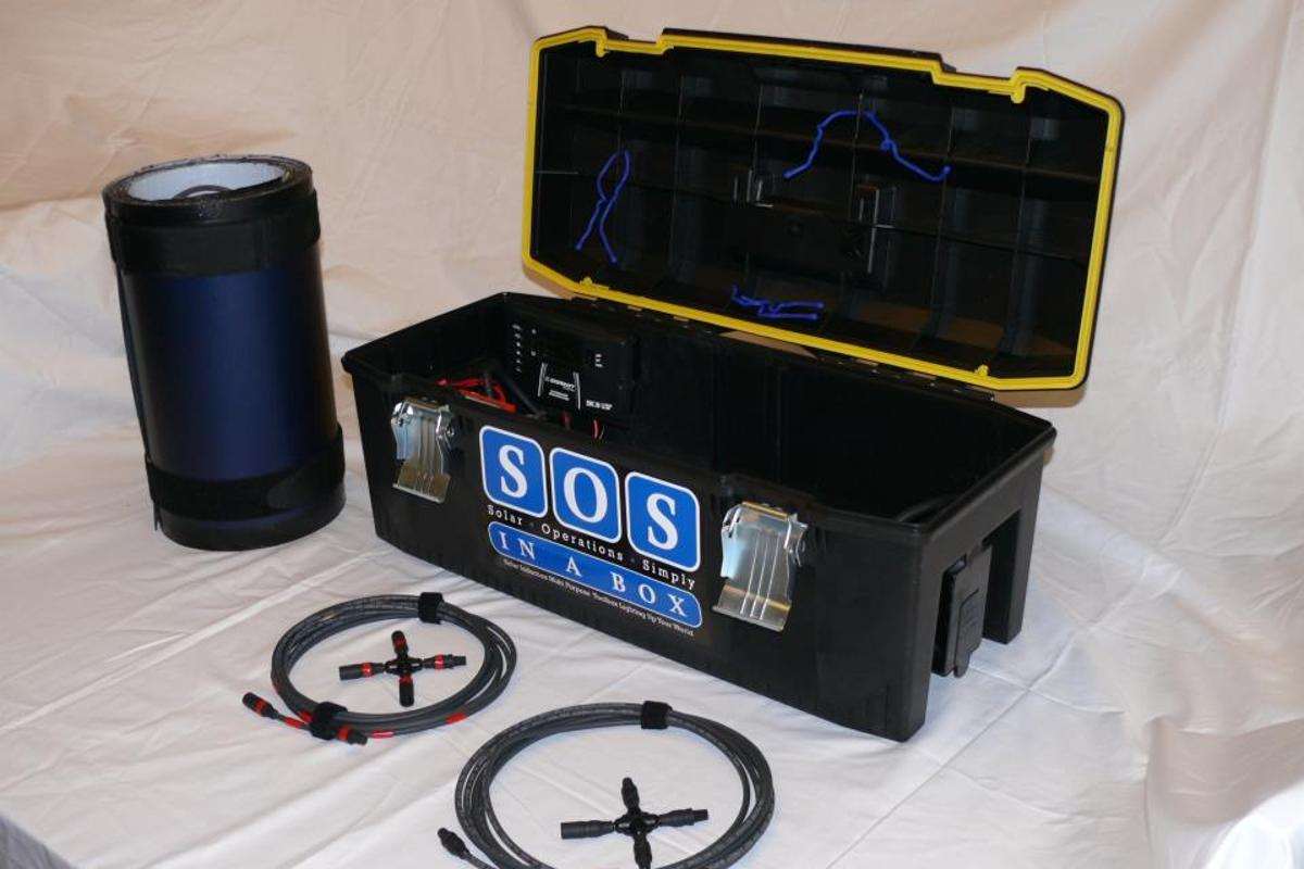 The SOS in a Box solar generator kit is designed with emergency and off-grid scenarios in mind