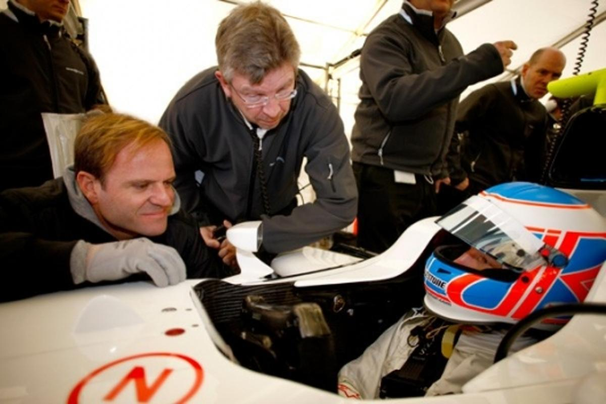 Rubens Barrichello, Ross Brawn and Jenson Button - write the new team off at your peril