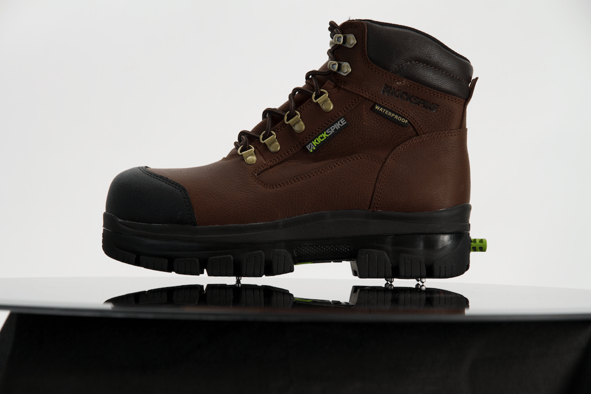 Along with their retractable spikes, KickSpike boots also feature lugged rubber soles and waterproof leather uppers