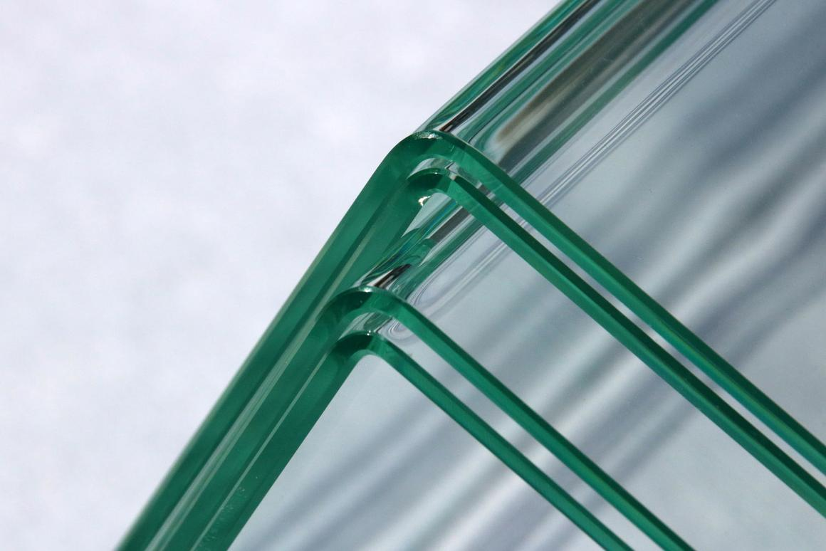 The process was used to bend these 3 mm-thick sheets of laminated safety glass