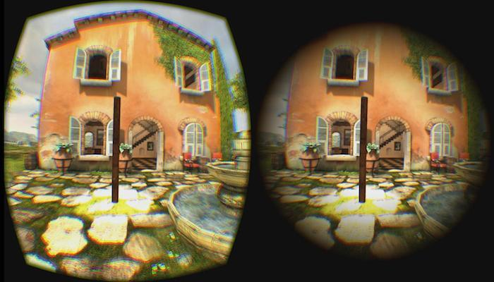 On the left is the standard view from one eye of an Oculus Rift headset, and on the right is the view with a gradualfield of view restrictor in place, which is designed to decreasemotion sickness in VR