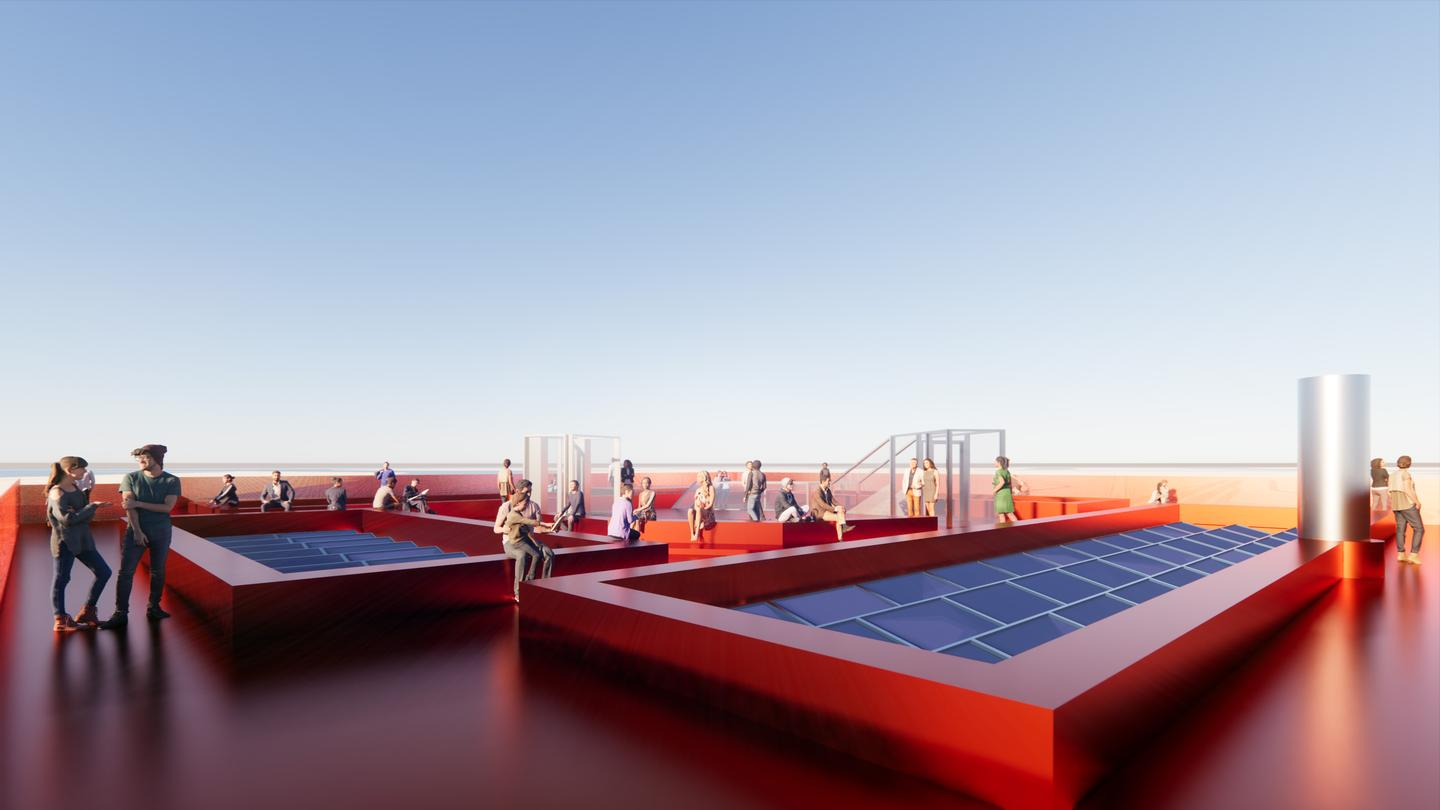 The Harbour Experience Centre's required electricity will be produced by 266 solar panels, as well as a wind turbine