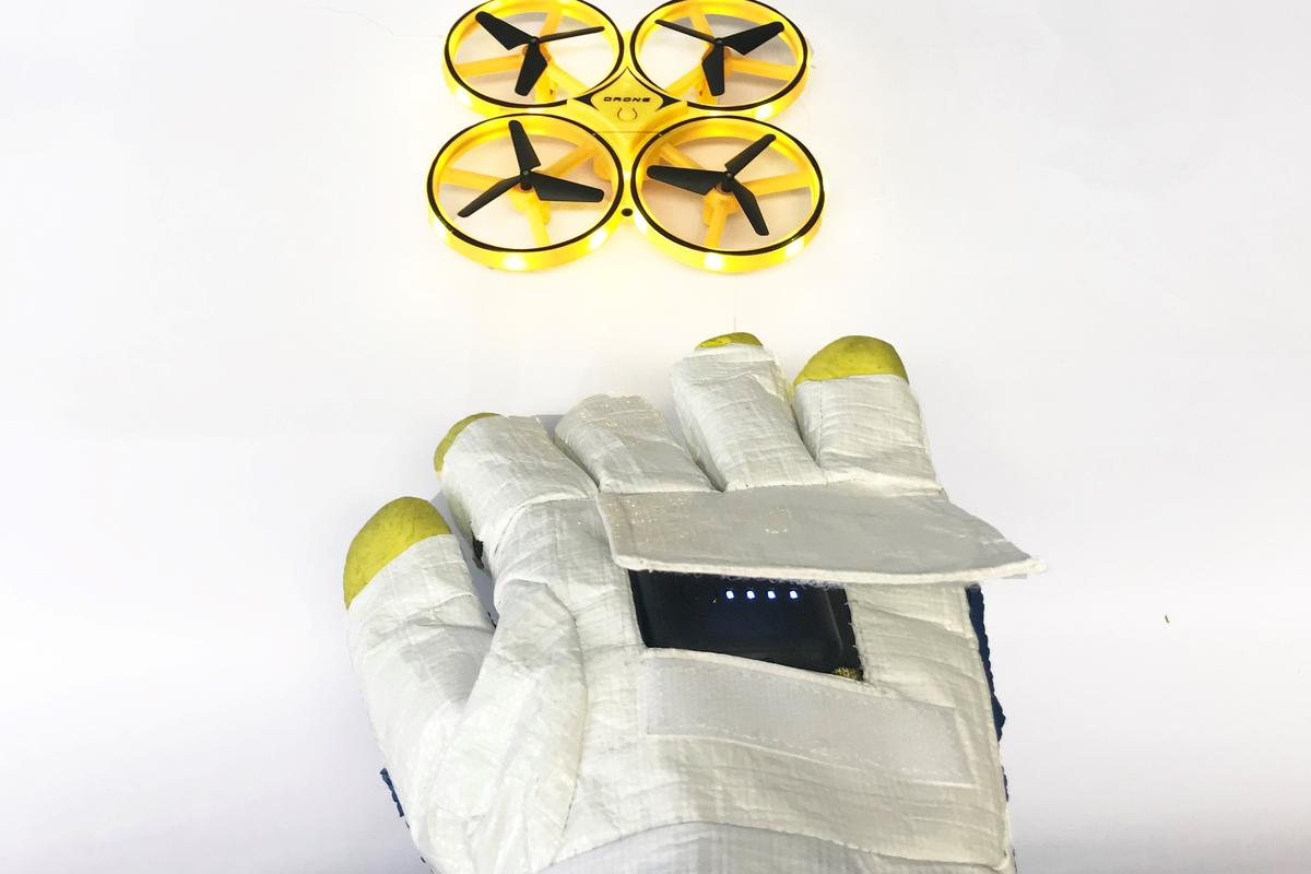 The concept space glove includes a device for operating rovers and drones using gesture control