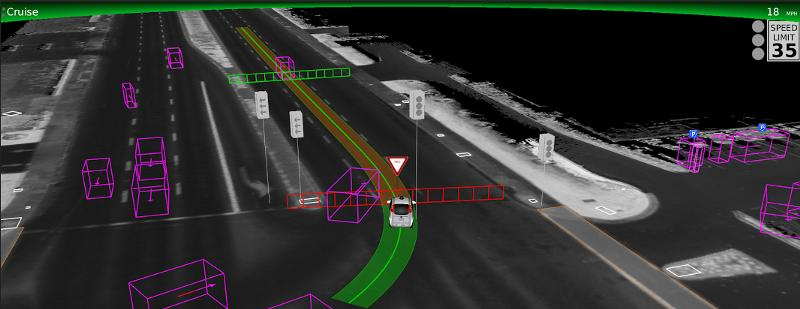 In this image captured from the sensors of the Self-Driving Car another car (purple box) cuts in front of the robot car, causing it to stop, indicated by the red fence icon