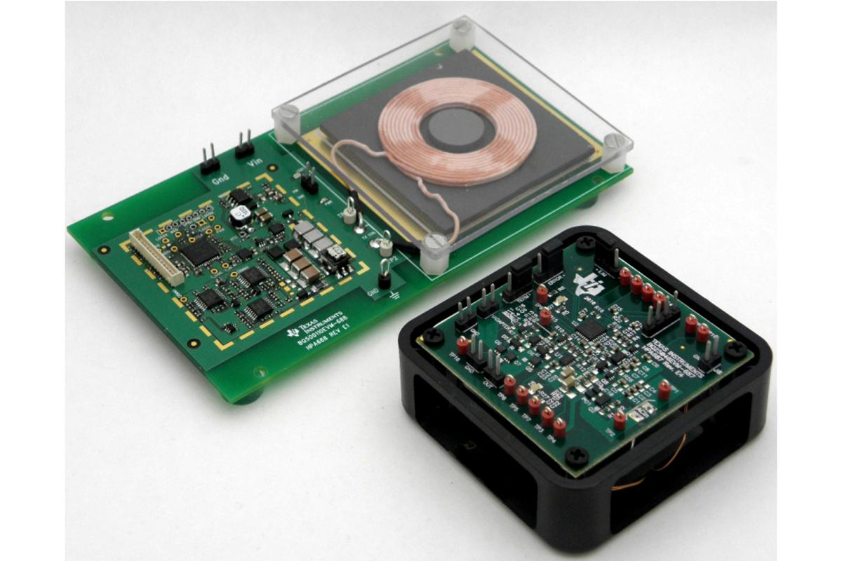 The TI bqTESLA wireless charging development kit lets designers integrate wireless power technology into portable electronics