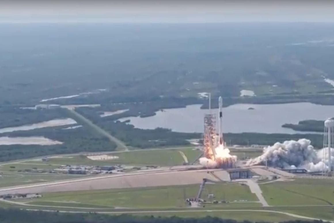The first Falcon 9 Block 5 rocket lifting off