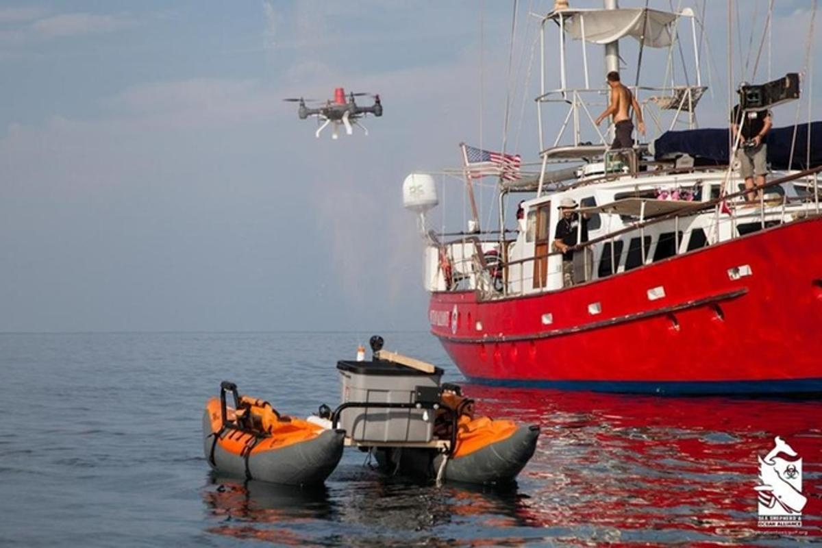 A Snotbot drone being tested with a simulated whale spout